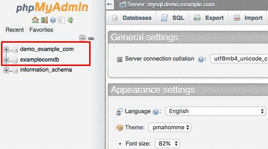 Select your WordPress database